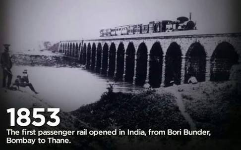 in 1853, The First Passenger Rail opened in India, From Bori Bunder, Bombay to Thane