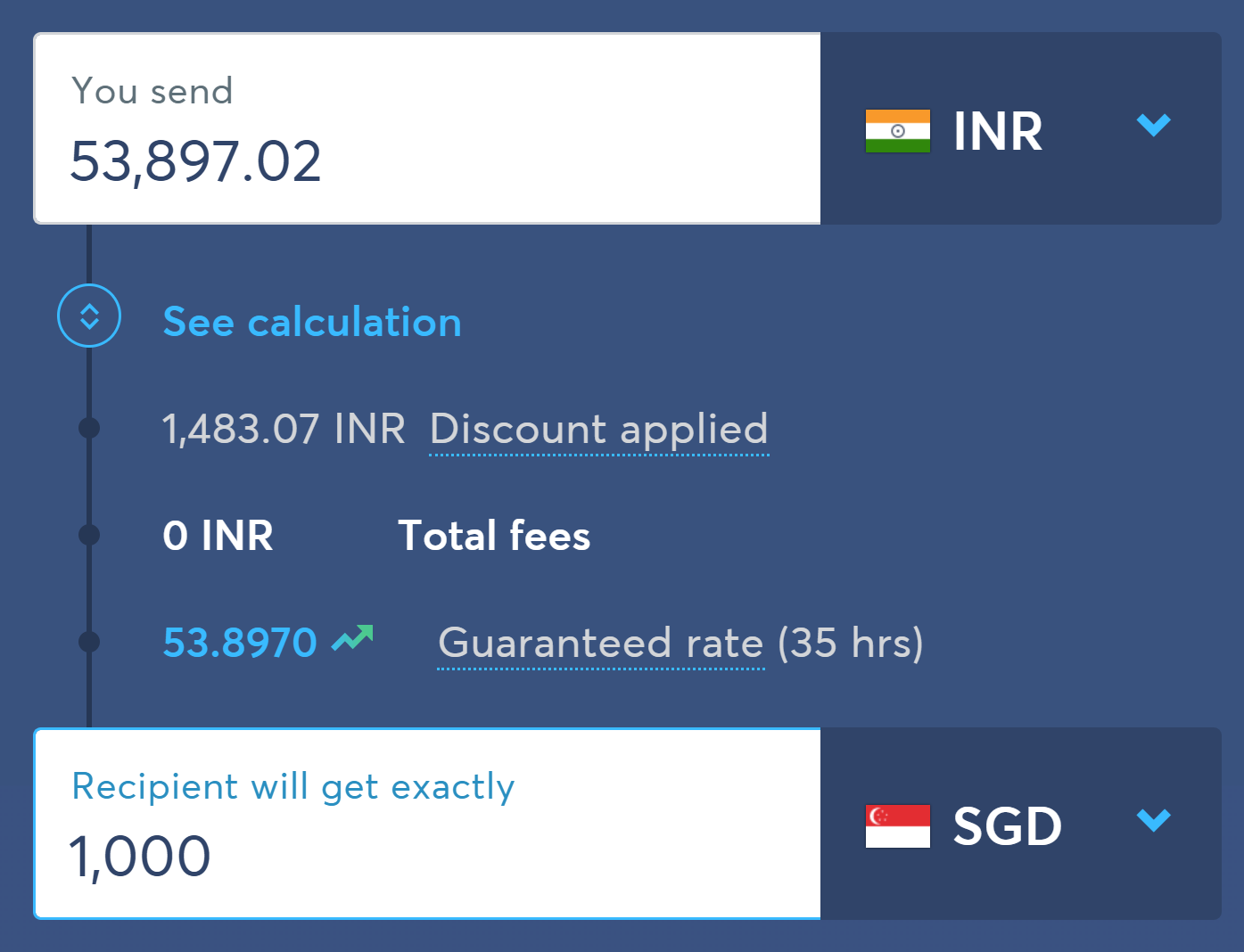 best way to transfer money from india to singapore