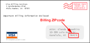 Billing Zip Code Visa Card