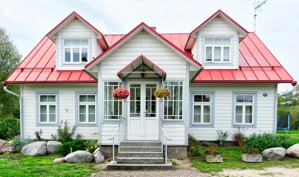 What is preferable buying a house or investing in mutual funds depicted by a house with red roof