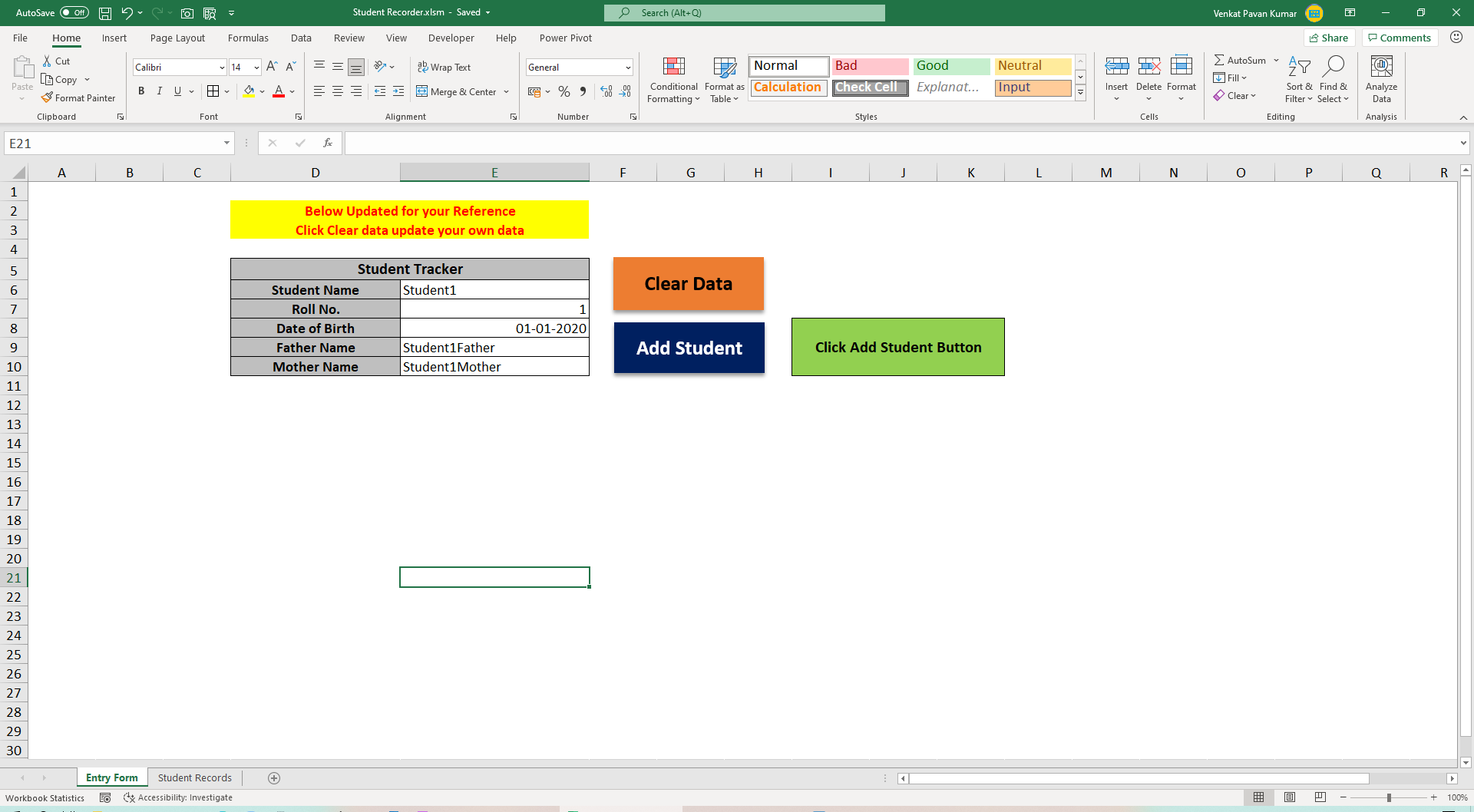 How to Create Excel Student Tracker Macro