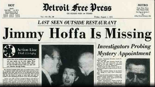 Newspaper clipping when Jimmy Hoffa was missing.