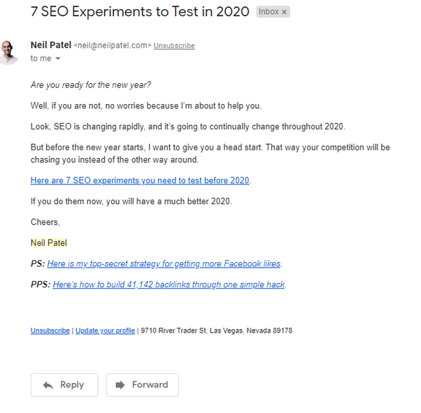 example of email marketing by neil patel