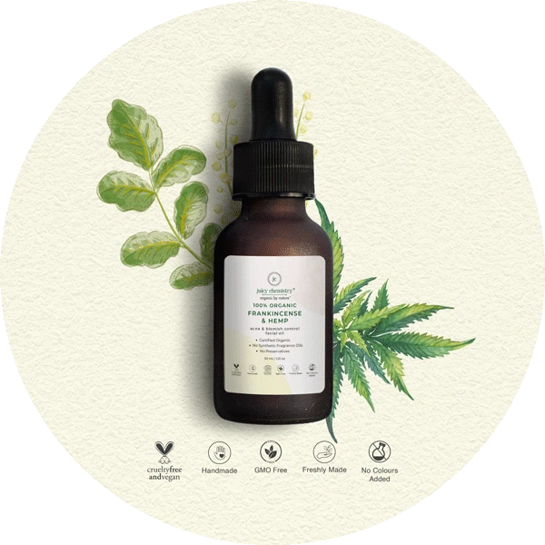 Juicy Chemistry Frankincense and Hemp Face Oil,  Best natural products for blemishes in India