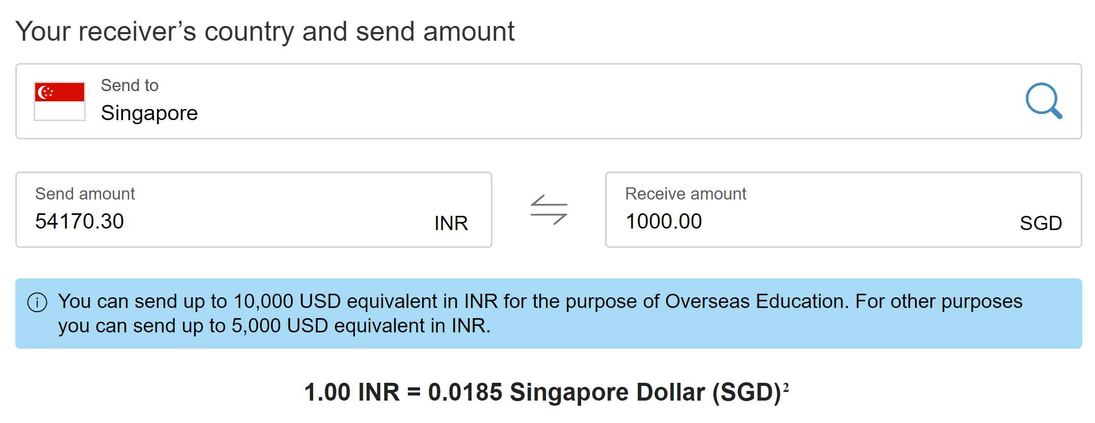 transfer money from india to singapore western union